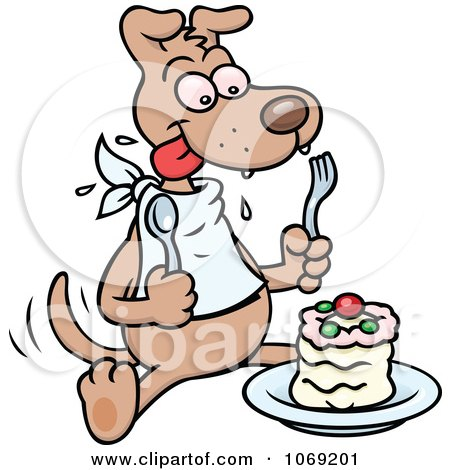 Clipart Dog Eating A Cake - Royalty Free Vector Illustration by gnurf