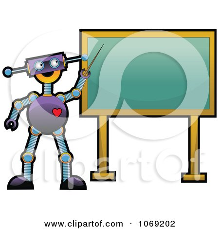 Clipart Robot Teacher Pointing To A Chalkboard - Royalty Free Vector Illustration by mheld