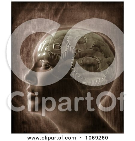 Clipart 3d Profiled Human Head With Gears In The Brain - Royalty Free CGI Illustration by Mopic