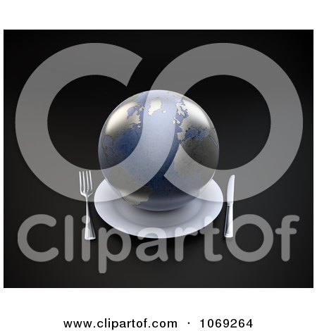 Clipart 3d Earth Served On A Plate - Royalty Free CGI Illustration by Mopic
