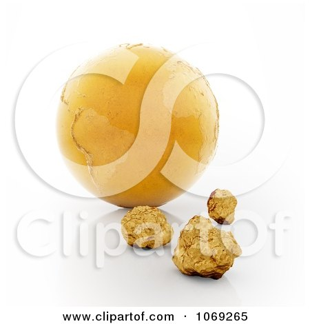 Clipart 3d Gold Earth And Nuggets - Royalty Free CGI Illustration by Mopic