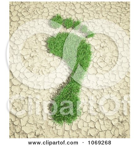 Clipart 3d Grassy Footprint On Cracked Earth - Royalty Free CGI Illustration by Mopic