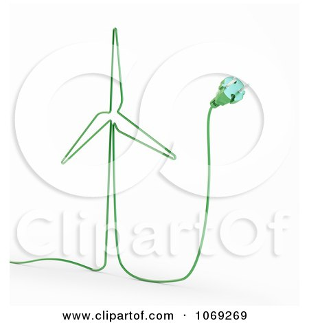 Clipart 3d Green Energy Windmill Cable - Royalty Free CGI Illustration by Mopic