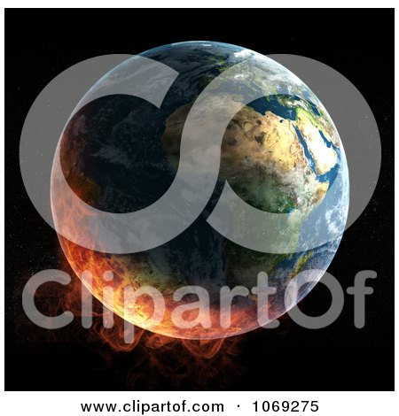 Clipart 3d Burning Earth - Royalty Free CGI Illustration by Mopic