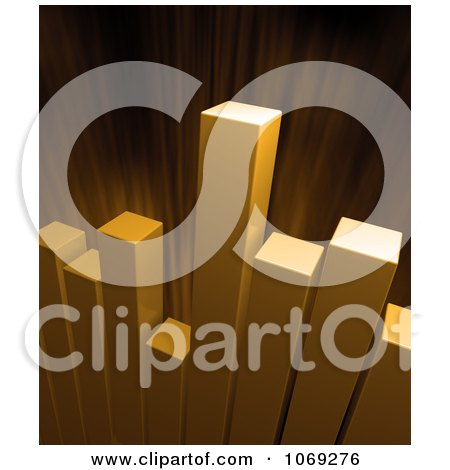 Clipart 3d Golden Bar Graph And Burst - Royalty Free CGI Illustration by Mopic