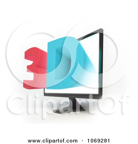 Clipart 3d Television Screen 1 - Royalty Free CGI Illustration by Mopic