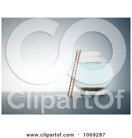 Clipart 3d Ladder Against An Empty Fish Bowl - Royalty Free CGI Illustration by Mopic