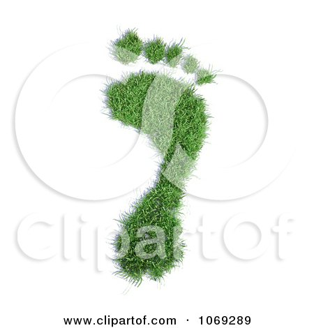 Clipart 3d Grassy Footprint - Royalty Free CGI Illustration by Mopic