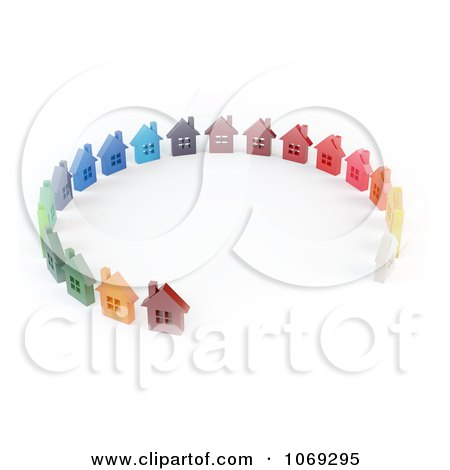 Clipart 3d Colorful Homes In A Circle - Royalty Free CGI Illustration by Mopic