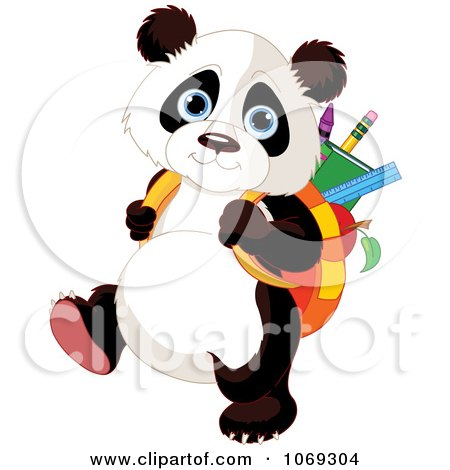 Clipart Panda Student Walking To School - Royalty Free Vector Illustration by Pushkin