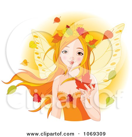 Clipart Red Haired Fairy With Autumn Leaves - Royalty Free Vector Illustration by Pushkin