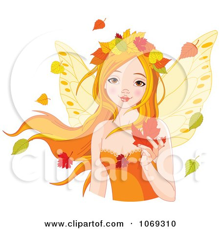 Clipart Fall Fairy With Autumn Leaves - Royalty Free Vector Illustration by Pushkin