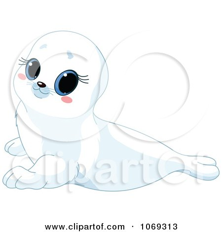 Clipart Cute White Baby Seal - Royalty Free Vector Illustration by Pushkin