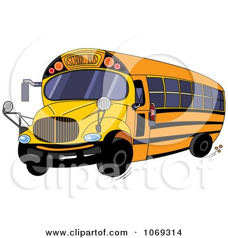 Clipart Yellow School Bus - Royalty Free Vector Illustration by Pushkin