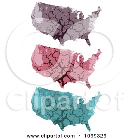 Clipart USA Stone Maps - Royalty Free Vector Illustration by Andrei Marincas