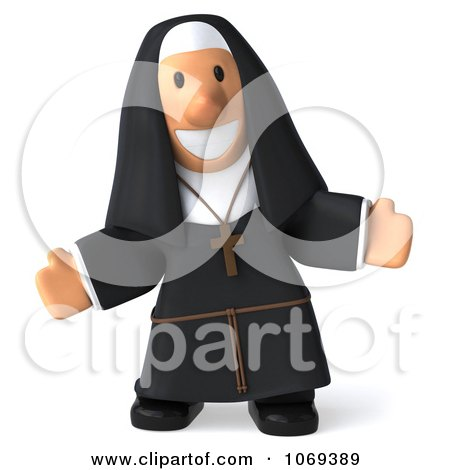 Clipart 3d Nun Welcoming - Royalty Free CGI Illustration by Julos