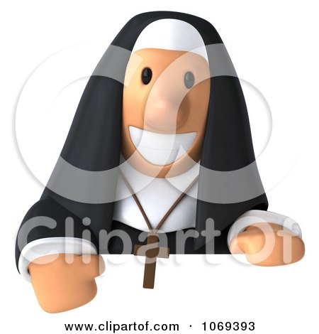 Clipart 3d Nun Holding A Sign 2 - Royalty Free CGI Illustration by Julos