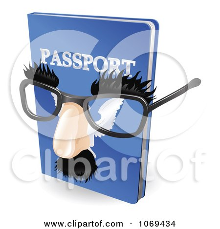 Clipart 3d False Nose And Glasses On A Passport - Royalty Free Vector Illustration by AtStockIllustration