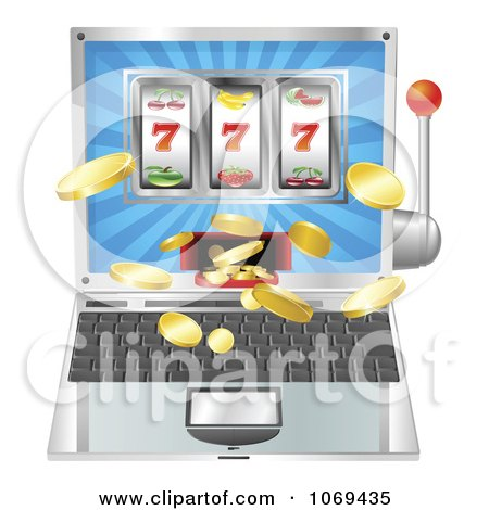 Clipart 3d Slot Machine Laptop - Royalty Free Vector Illustration by AtStockIllustration