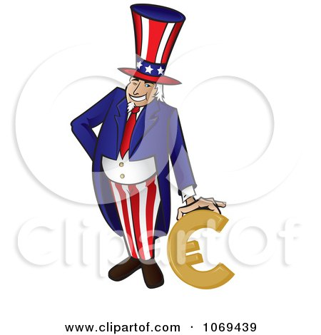 Clipart Uncle Sam Leaning On A Euro - Royalty Free Vector Illustration by Paulo Resende
