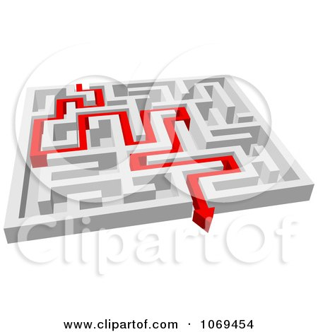 Clipart 3d Maze With Red Arrow Paths 1 - Royalty Free Vector Illustration by Vector Tradition SM