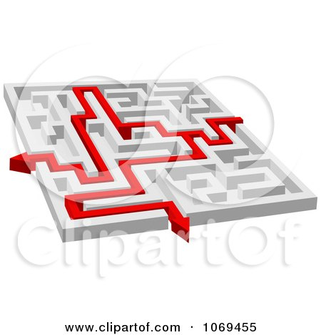 Clipart 3d Maze With Red Arrow Paths 2 - Royalty Free Vector Illustration by Vector Tradition SM
