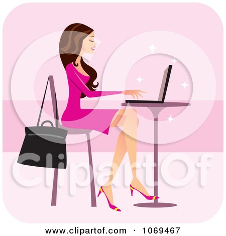 Clipart Brunette Woman Using A Laptop At A Cafe - Royalty Free Vector Illustration by Monica