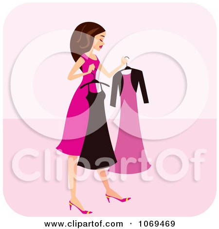 Clipart Brunette Woman Choosing A Dress - Royalty Free Vector Illustration by Monica