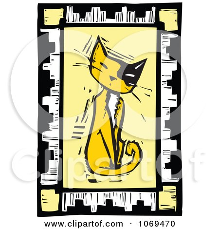 clipart woodcut sitting cat frame royalty free vector illustration by xunantunich