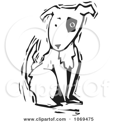 Clipart Woodcut Dog Sitting - Royalty Free Vector Illustration by xunantunich
