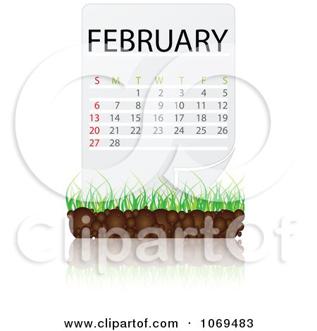 Clipart February Calendar Over Soil And Grass - Royalty Free Vector Illustration by Andrei Marincas
