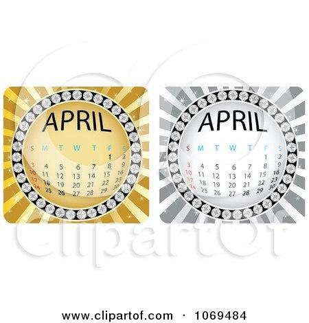 Clipart April Calendar Bursts - Royalty Free Vector Illustration by Andrei Marincas