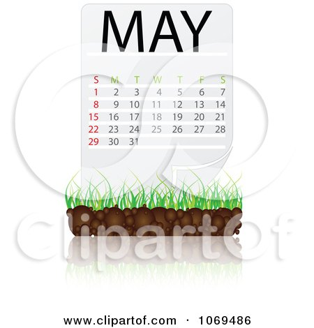 Clipart May Calendar Over Soil And Grass - Royalty Free Vector Illustration by Andrei Marincas