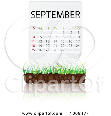 Clipart September Calendar Over Soil And Grass - Royalty Free Vector Illustration by Andrei Marincas