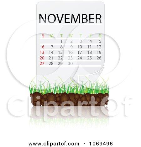 Clipart November Calendar Over Soil And Grass - Royalty Free Vector Illustration by Andrei Marincas