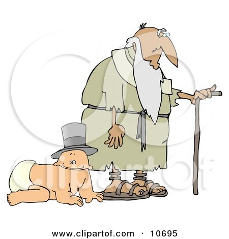 Baby Wearing a Hat and Crawling Alongside an Old Man With a Cane Posters, Art Prints