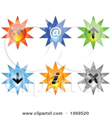Clipart 3d Burst Website Buttons 2 - Royalty Free Vector Illustration by Andrei Marincas