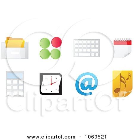 Clipart 3d Office Computer Icons - Royalty Free Vector Illustration by Andrei Marincas