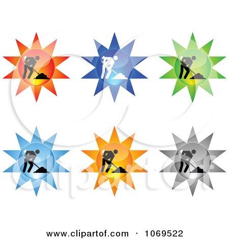Clipart 3d Burst Construction Website Buttons - Royalty Free Vector Illustration by Andrei Marincas