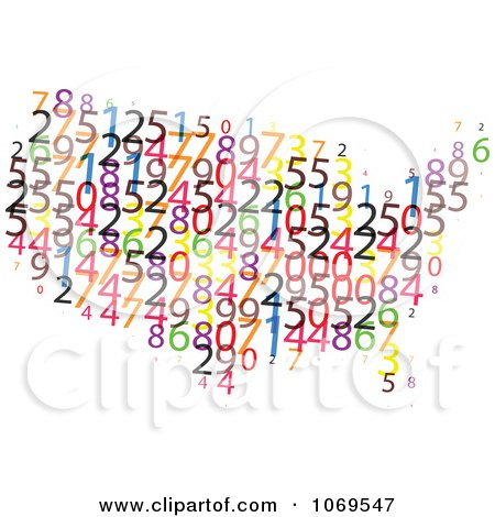 Clipart USA Number Map - Royalty Free Vector Illustration by Andrei Marincas
