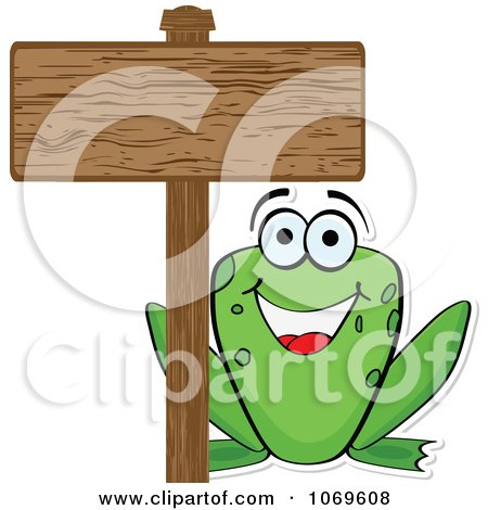 Clipart Frog And A Wood Sign - Royalty Free Vector Illustration by Andrei Marincas