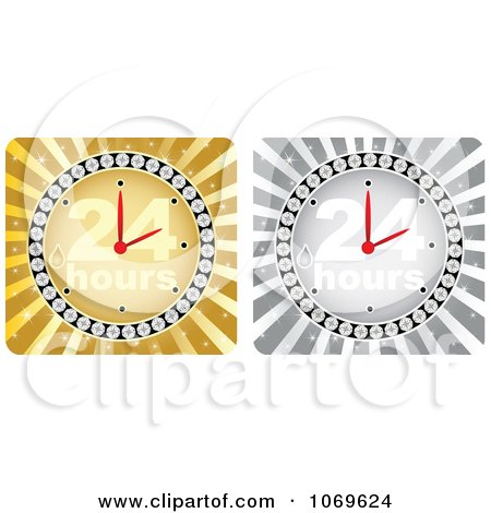 Clipart Gold And Silver 24 Hours Clocks - Royalty Free Vector Illustration by Andrei Marincas