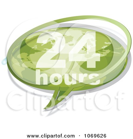 Clipart 24 Hours Word Balloon - Royalty Free Vector Illustration by Andrei Marincas