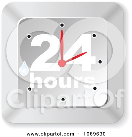 Clipart Wet Silver 24 Hours Clock - Royalty Free Vector Illustration by Andrei Marincas