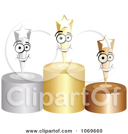Clipart 3d Stars On Podiums - Royalty Free Vector Illustration by Andrei Marincas