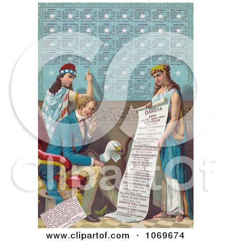 Clipart of Lady Liberty Writing Information on the Dakota Area While Uncle Sam and a Bald Eagle Read a Scroll Held by a Female Personification of Dakota - Royalty Free Historical Stock Illustration by JVPD
