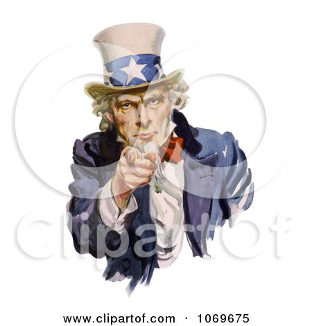 Clipart of Intimidating Uncle Sam Pointing Out - Royalty Free Historical Stock Illustration by JVPD