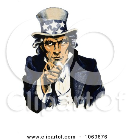 Clipart Of Navy War Recruiting Uncle Sam Pointing His Finger - Royalty Free Historical Stock Illustration by JVPD