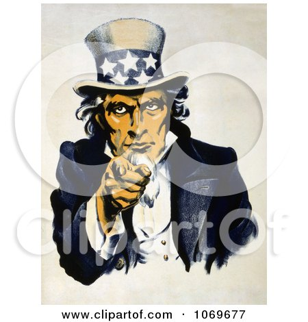 Clipart of Uncle Sam in Blue, Pointing Outwards During Navy War Recruitment - Royalty Free Historical Stock Illustration by JVPD