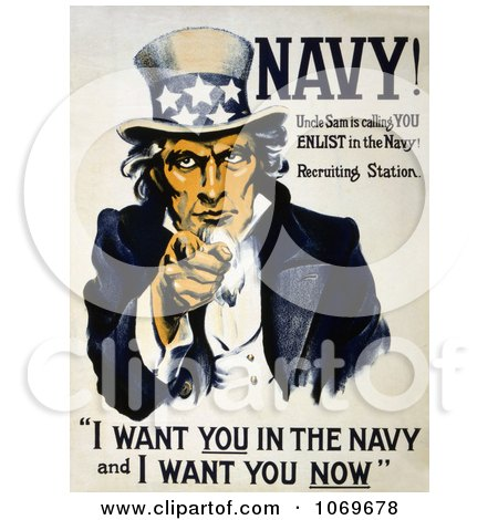 Clipart of a Uncle Sam Saying I Want You in the Navy and I Want You Now - Royalty Free Historical Stock Illustration by JVPD